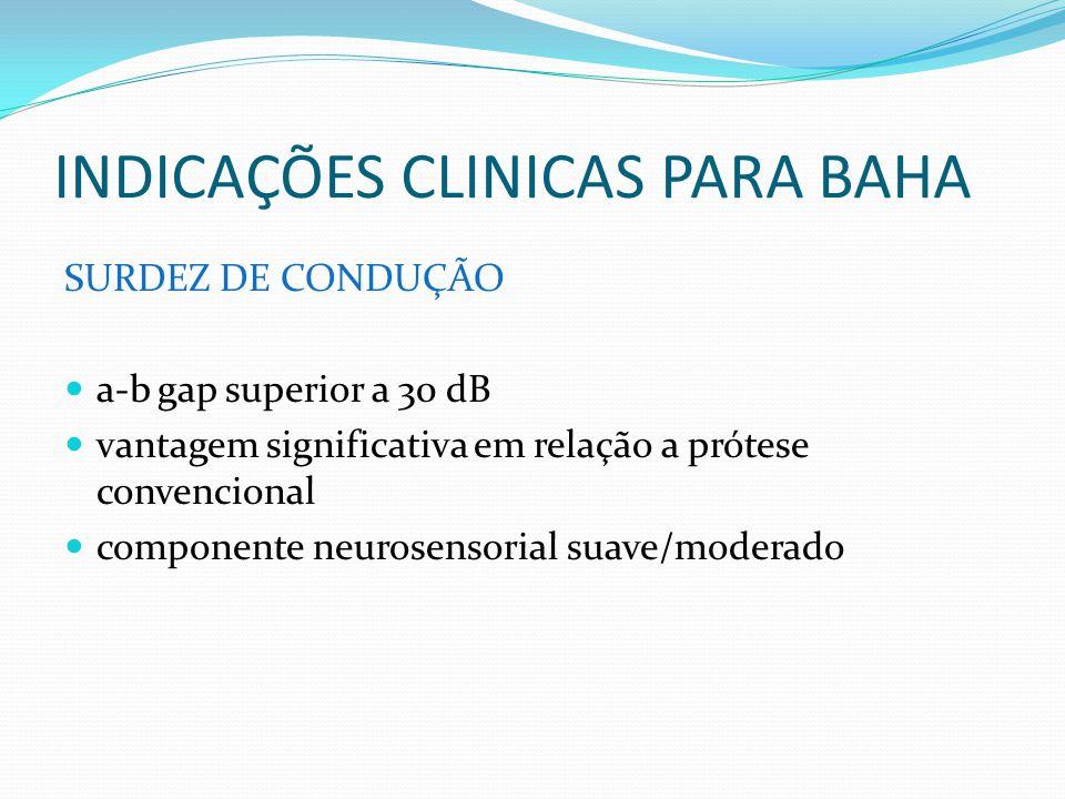 INDICAÇÕES CLINICAS PARA BAHA SURDEZ DE CONDUÇÃO a-b gap superior a 30 dB vantagem significativa em relação a prótese convencional componente neurosen