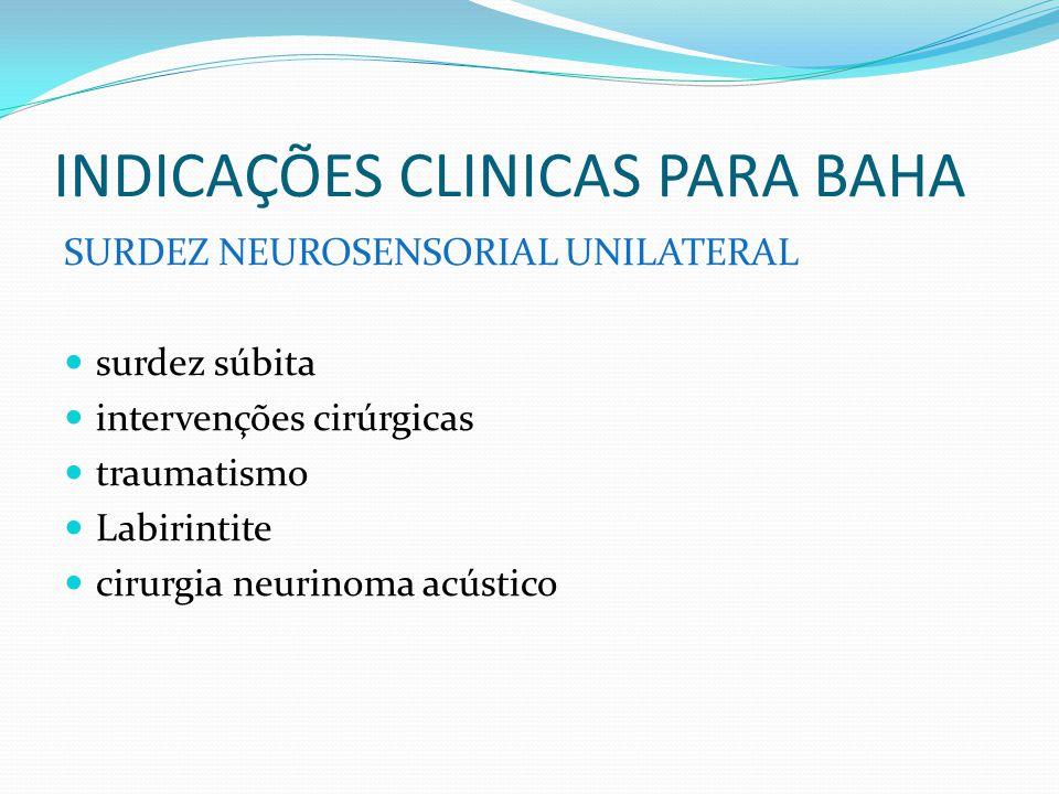 INDICAÇÕES CLINICAS PARA BAHA SURDEZ NEUROSENSORIAL UNILATERAL surdez súbita intervenções cirúrgicas traumatismo Labirintite cirurgia neurinoma acústi