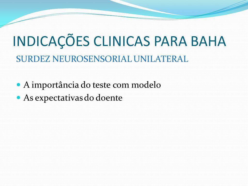 INDICAÇÕES CLINICAS PARA BAHA SURDEZ NEUROSENSORIAL UNILATERAL A importância do teste com modelo As expectativas do doente