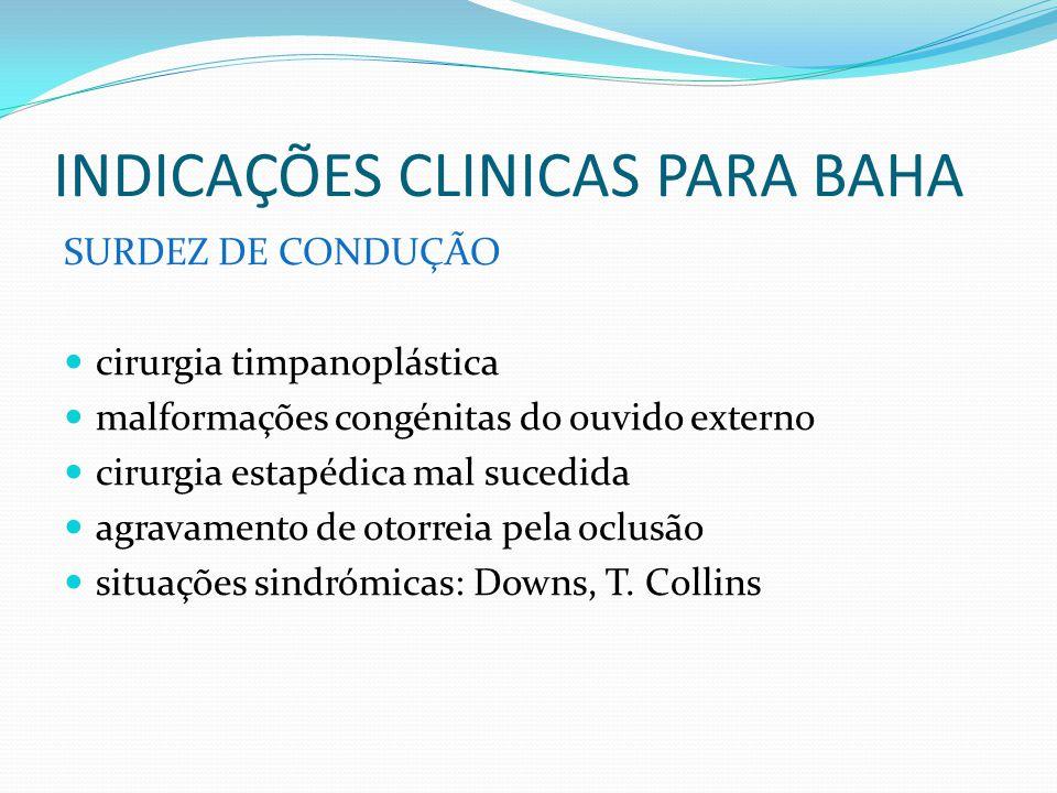 INDICAÇÕES CLINICAS PARA BAHA SURDEZ DE CONDUÇÃO cirurgia timpanoplástica malformações congénitas do ouvido externo cirurgia estapédica mal sucedida a