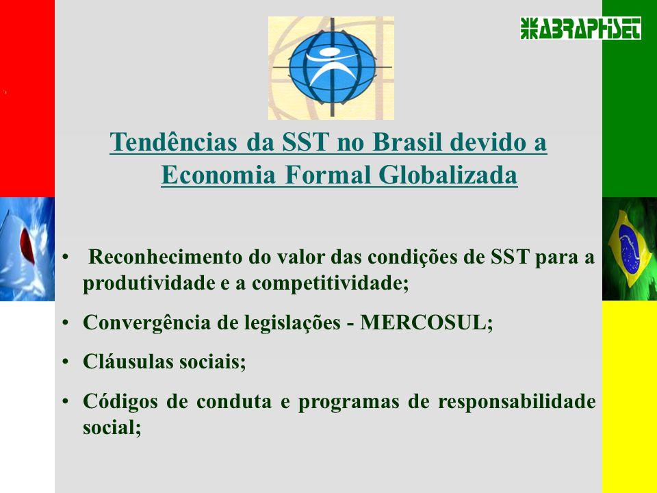 Tendências da SST no Brasil devido a Economia Formal Globalizada Reconhecimento do valor das condições de SST para a produtividade e a competitividade; Convergência de legislações - MERCOSUL; Cláusulas sociais; Códigos de conduta e programas de responsabilidade social;