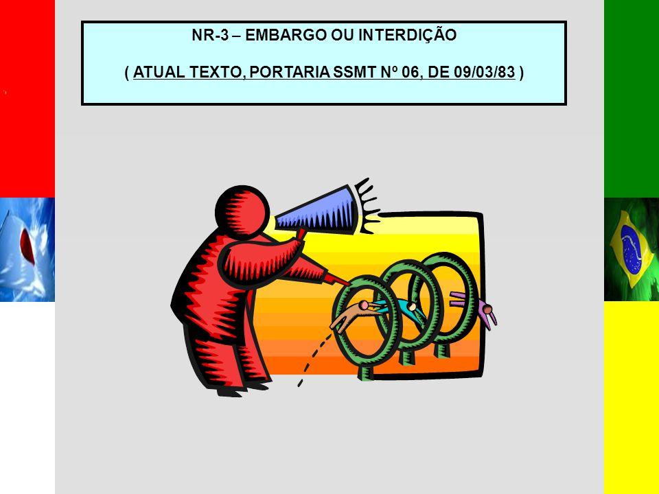 NR-3 – EMBARGO OU INTERDIÇÃO ( ATUAL TEXTO, PORTARIA SSMT Nº 06, DE 09/03/83 )
