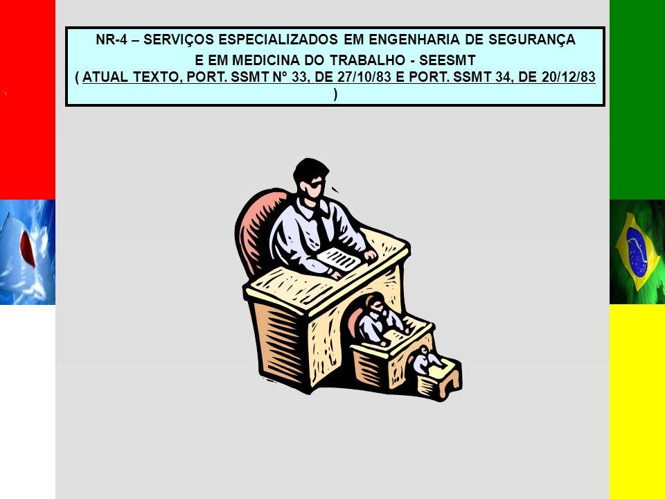 NR-4 – SERVIÇOS ESPECIALIZADOS EM ENGENHARIA DE SEGURANÇA E EM MEDICINA DO TRABALHO - SEESMT ( ATUAL TEXTO, PORT.