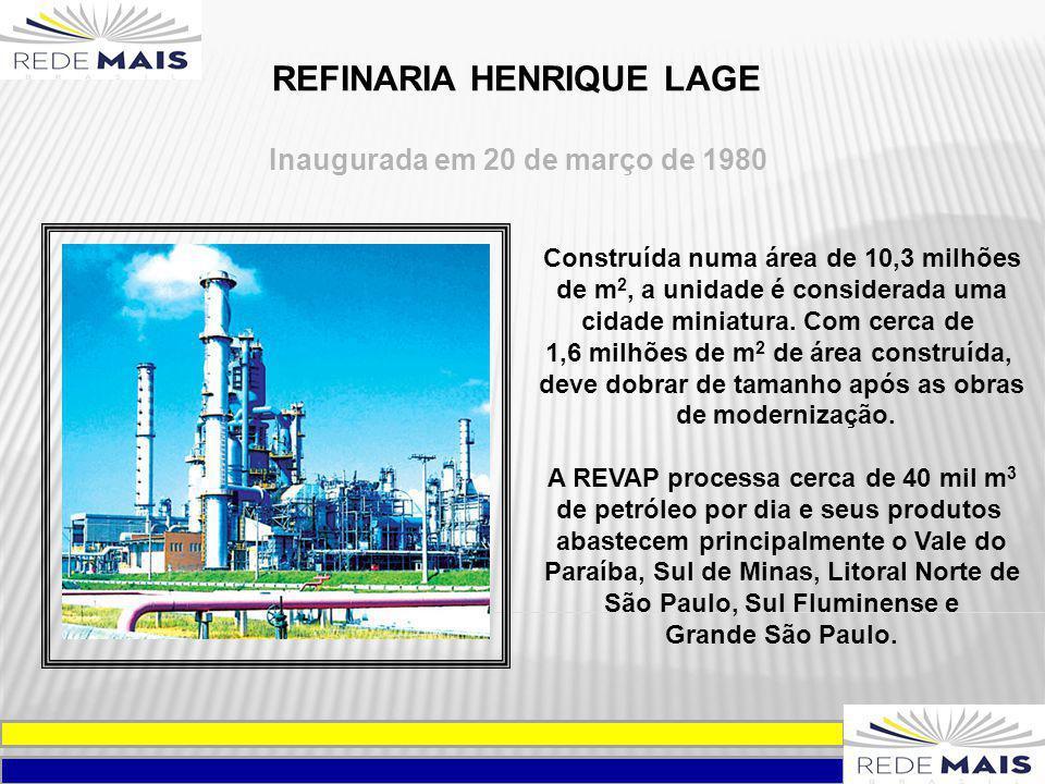 REFINARIA HENRIQUE LAGE Inaugurada em 20 de março de 1980 Construída numa área de 10,3 milhões de m 2, a unidade é considerada uma cidade miniatura. C