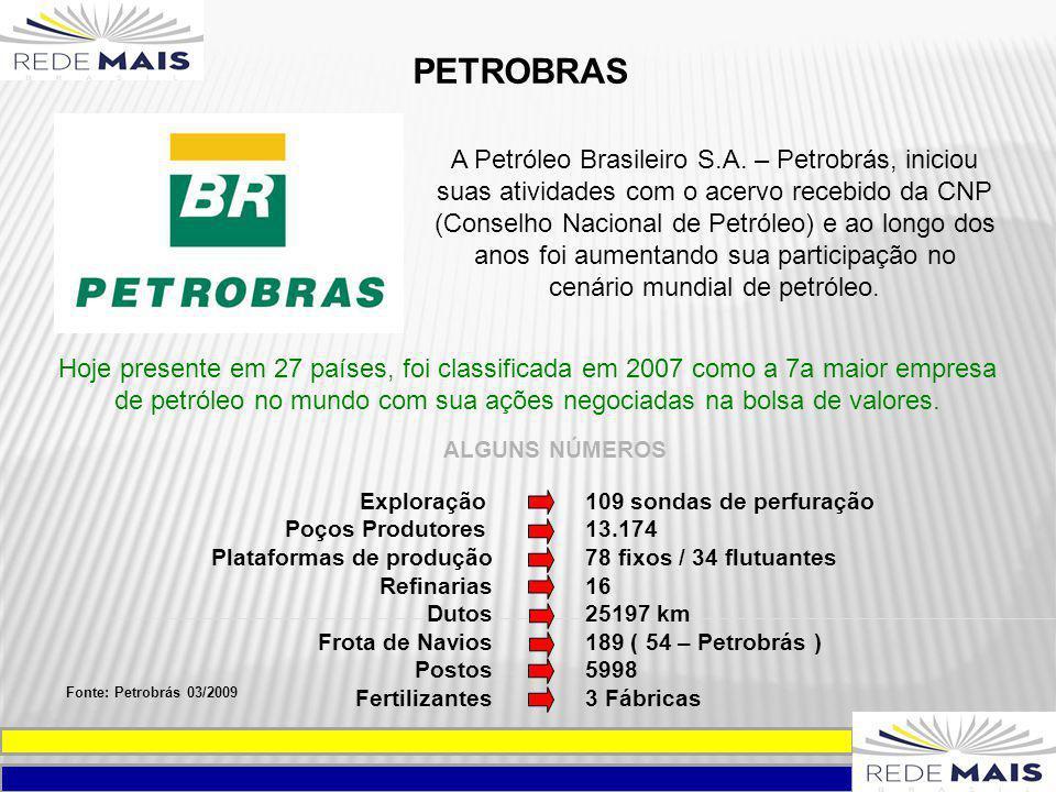 PETROBRAS A Petróleo Brasileiro S.A. – Petrobrás, iniciou suas atividades com o acervo recebido da CNP (Conselho Nacional de Petróleo) e ao longo dos