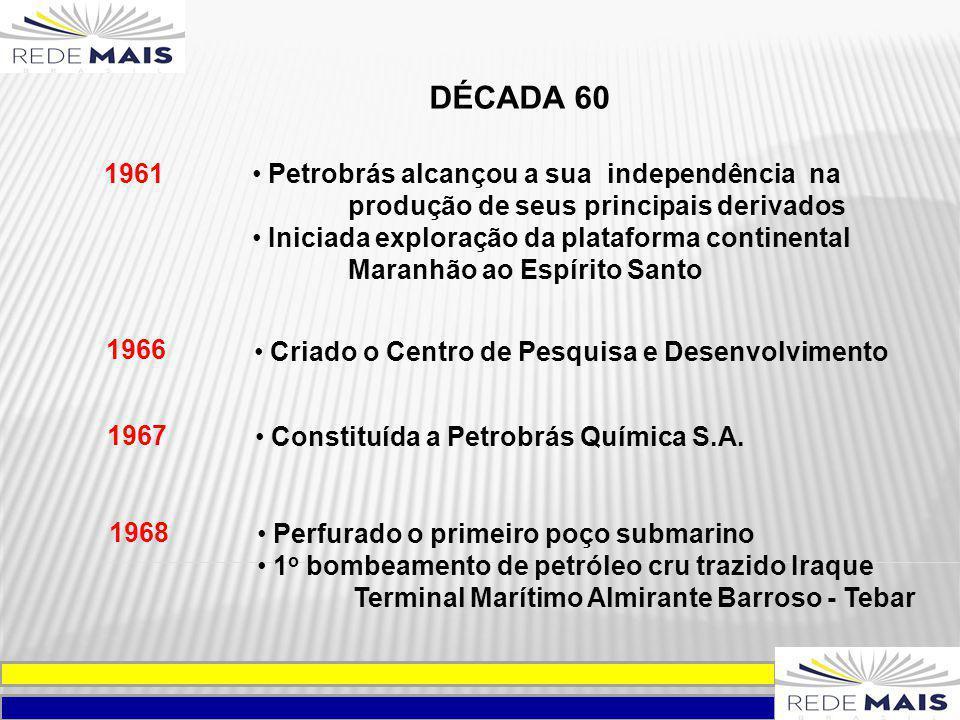 DÉCADA 60 1961 Petrobrás alcançou a sua independência na produção de seus principais derivados Iniciada exploração da plataforma continental Maranhão