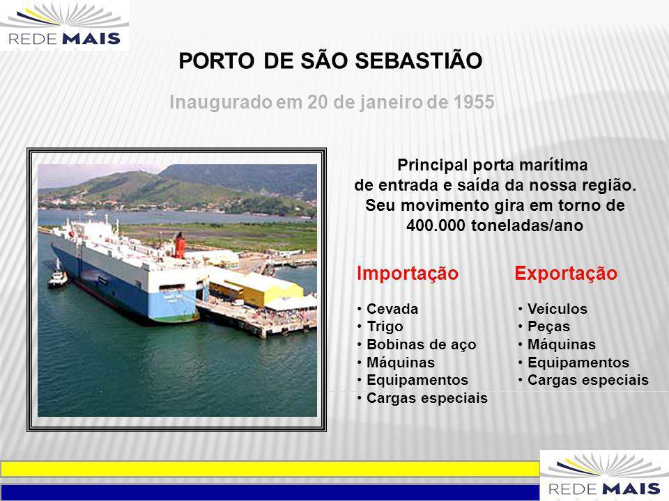 Inaugurado em 20 de janeiro de 1955 PORTO DE SÃO SEBASTIÃO Principal porta marítima de entrada e saída da nossa região. Seu movimento gira em torno de