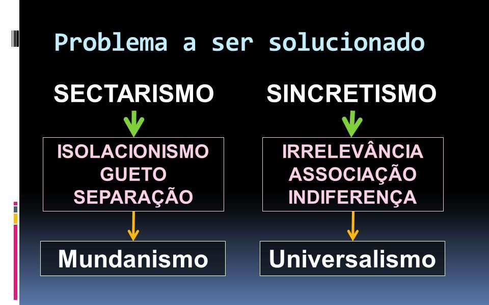 Problema a ser solucionado SECTARISMO ISOLACIONISMO GUETO SEPARAÇÃO SINCRETISMO IRRELEVÂNCIA ASSOCIAÇÃO INDIFERENÇA MundanismoUniversalismo