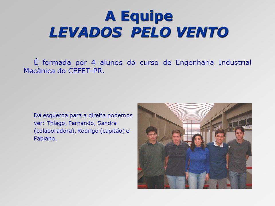 A Equipe LEVADOS PELO VENTO É formada por 4 alunos do curso de Engenharia Industrial Mecânica do CEFET-PR. Da esquerda para a direita podemos ver: Thi