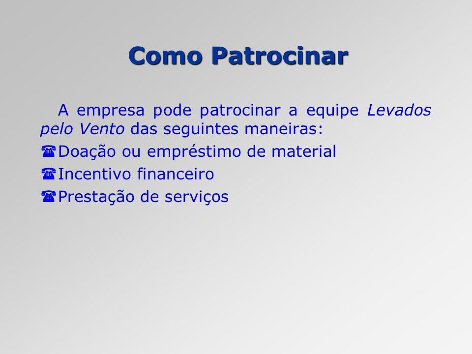 Como Patrocinar A empresa pode patrocinar a equipe Levados pelo Vento das seguintes maneiras: (Doação ou empréstimo de material (Incentivo financeiro