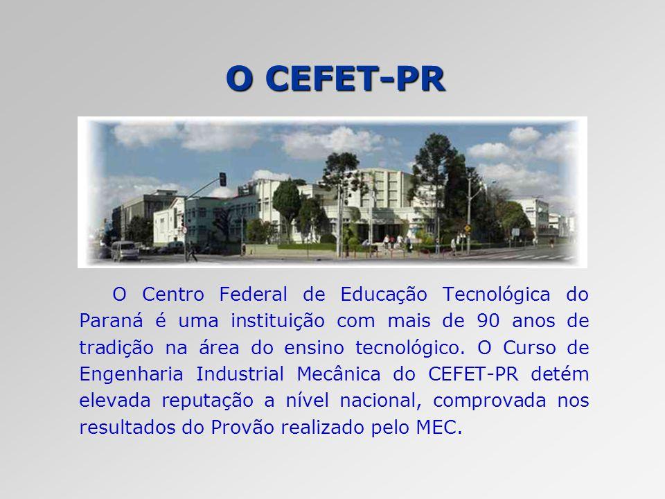 O CEFET-PR O Centro Federal de Educação Tecnológica do Paraná é uma instituição com mais de 90 anos de tradição na área do ensino tecnológico. O Curso