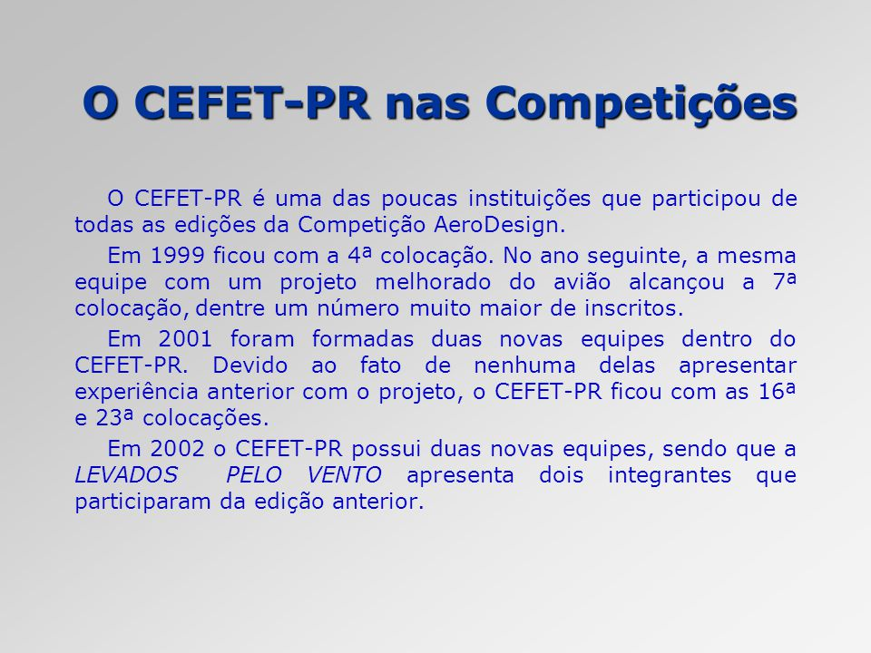 O CEFET-PR nas Competições O CEFET-PR é uma das poucas instituições que participou de todas as edições da Competição AeroDesign. Em 1999 ficou com a 4