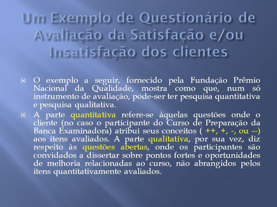 O exemplo a seguir, fornecido pela Fundação Prêmio Nacional da Qualidade, mostra como que, num só instrumento de avaliação, pode-ser ter pesquisa quan