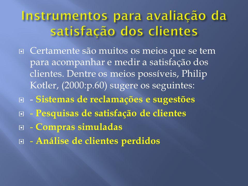 Certamente são muitos os meios que se tem para acompanhar e medir a satisfação dos clientes. Dentre os meios possíveis, Philip Kotler, (2000:p.60) sug