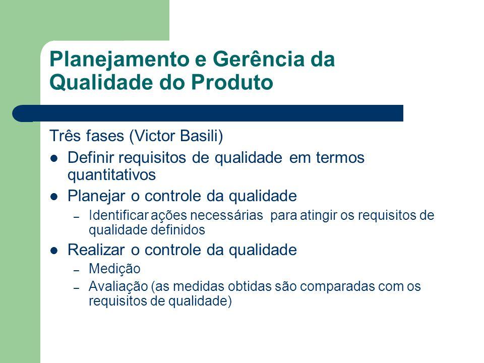 Planejamento e Gerência da Qualidade do Produto Três fases (Victor Basili) Definir requisitos de qualidade em termos quantitativos Planejar o controle