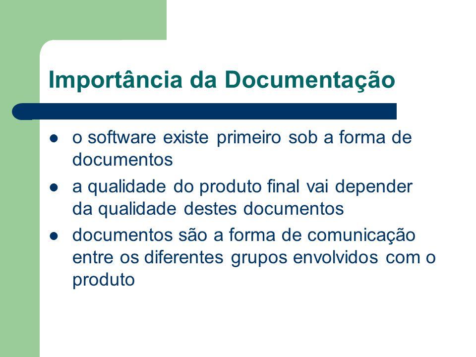 Importância da Documentação o software existe primeiro sob a forma de documentos a qualidade do produto final vai depender da qualidade destes documentos documentos são a forma de comunicação entre os diferentes grupos envolvidos com o produto