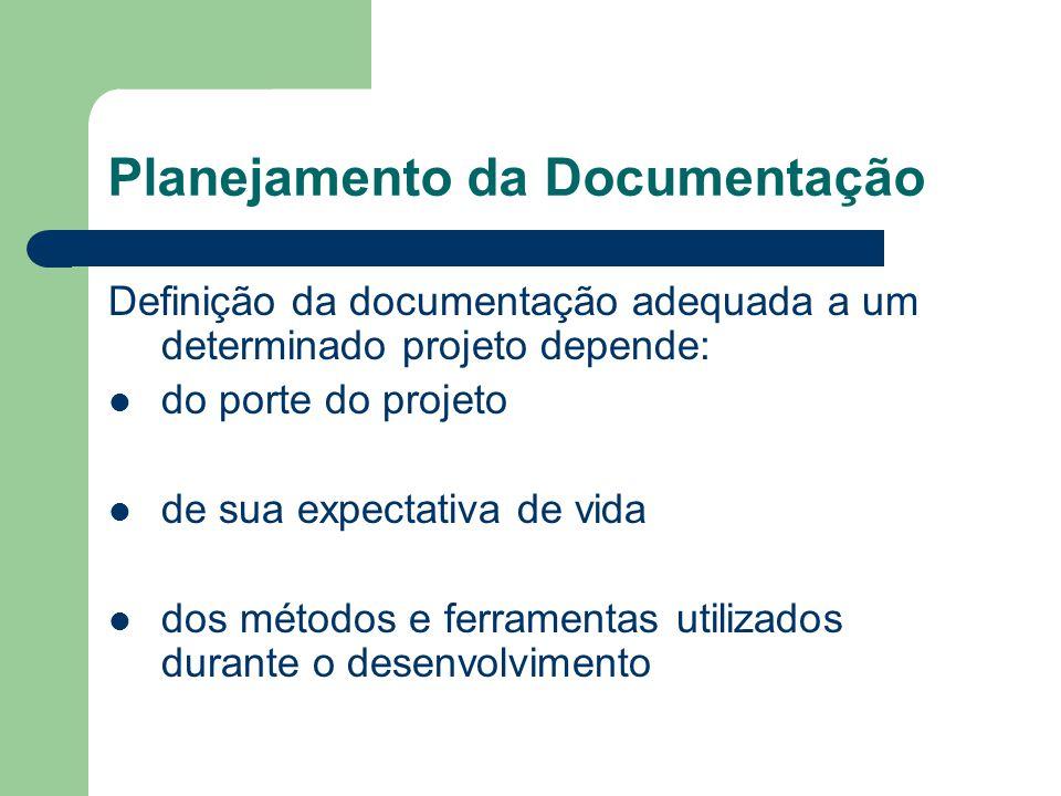 Planejamento da Documentação Definição da documentação adequada a um determinado projeto depende: do porte do projeto de sua expectativa de vida dos métodos e ferramentas utilizados durante o desenvolvimento