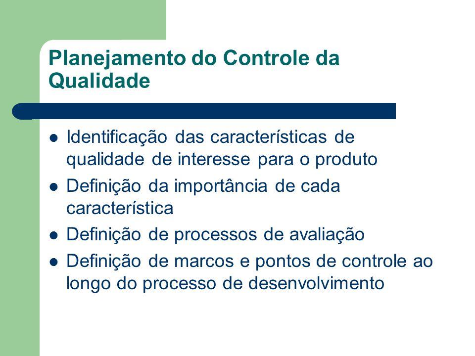 Planejamento do Controle da Qualidade Identificação das características de qualidade de interesse para o produto Definição da importância de cada cara