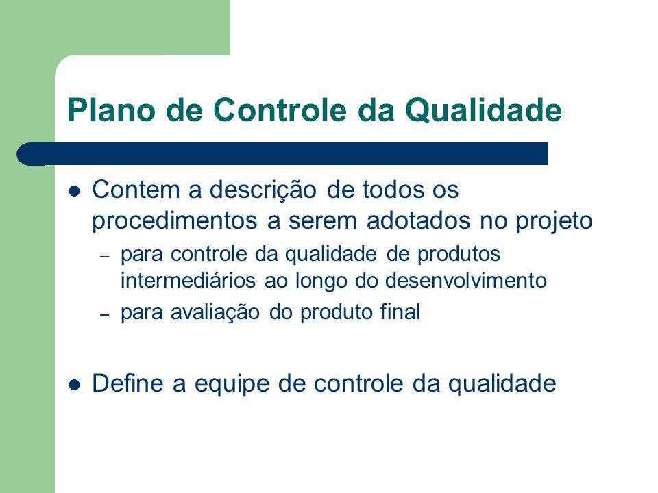 Plano de Controle da Qualidade Contem a descrição de todos os procedimentos a serem adotados no projeto – para controle da qualidade de produtos intermediários ao longo do desenvolvimento – para avaliação do produto final Define a equipe de controle da qualidade