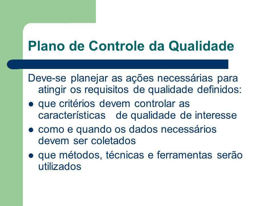 Plano de Controle da Qualidade Deve-se planejar as ações necessárias para atingir os requisitos de qualidade definidos: que critérios devem controlar