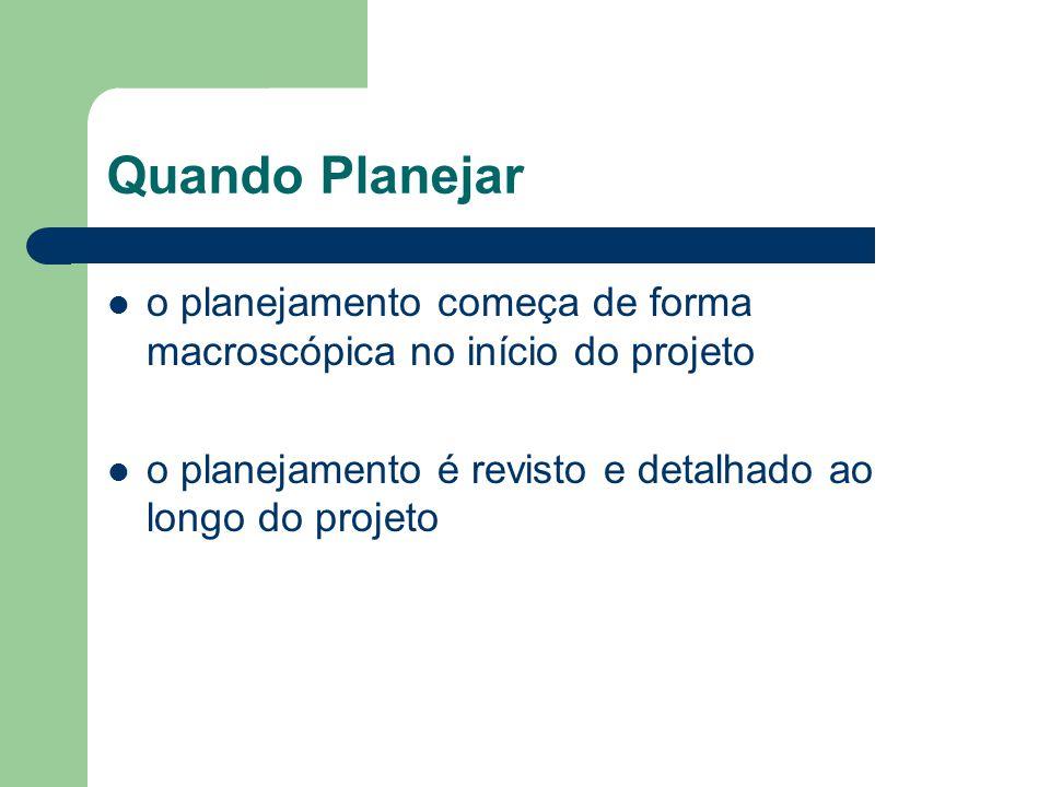 Quando Planejar o planejamento começa de forma macroscópica no início do projeto o planejamento é revisto e detalhado ao longo do projeto