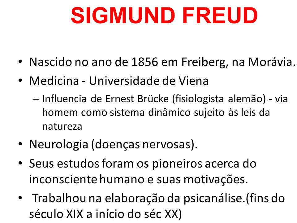 SIGMUND FREUD Nascido no ano de 1856 em Freiberg, na Morávia. Medicina - Universidade de Viena – Influencia de Ernest Brücke (fisiologista alemão) - v