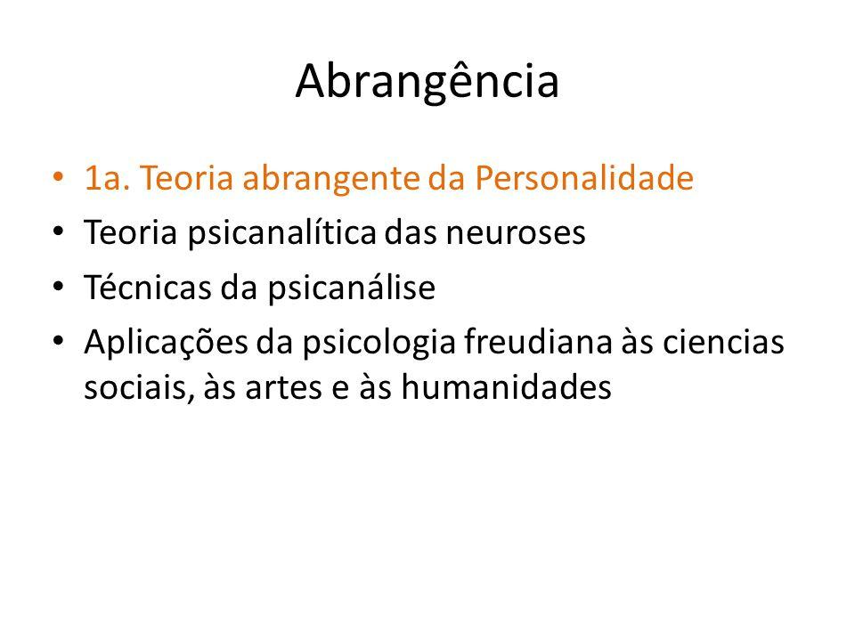 Abrangência 1a. Teoria abrangente da Personalidade Teoria psicanalítica das neuroses Técnicas da psicanálise Aplicações da psicologia freudiana às cie