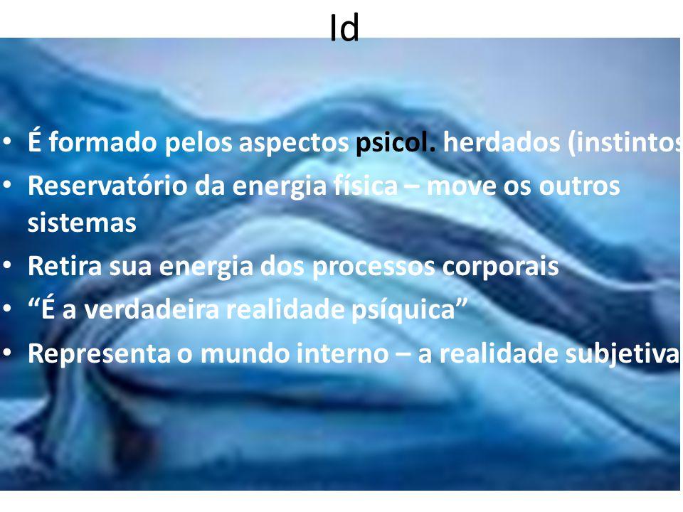 Id É formado pelos aspectos psicol. herdados (instintos) Reservatório da energia física – move os outros sistemas Retira sua energia dos processos cor