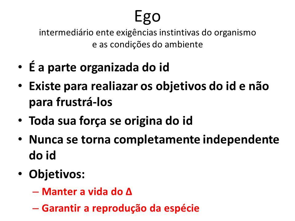 Ego intermediário ente exigências instintivas do organismo e as condições do ambiente É a parte organizada do id Existe para realiazar os objetivos do