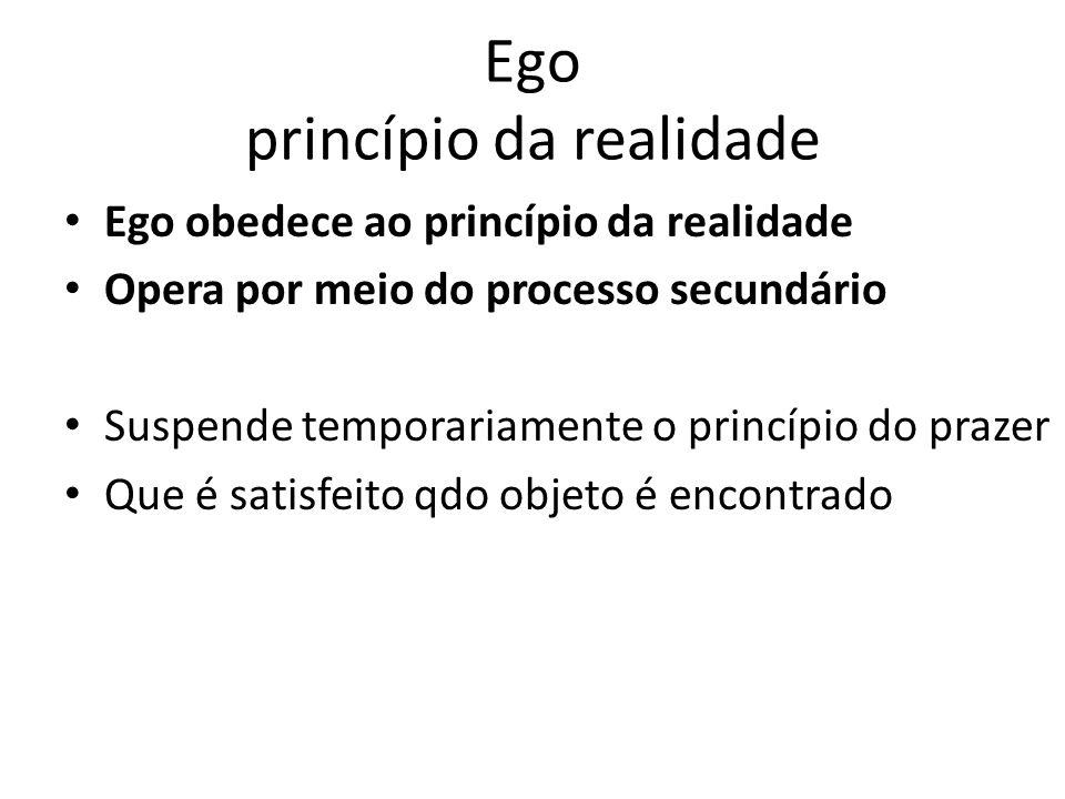 Ego princípio da realidade Ego obedece ao princípio da realidade Opera por meio do processo secundário Suspende temporariamente o princípio do prazer