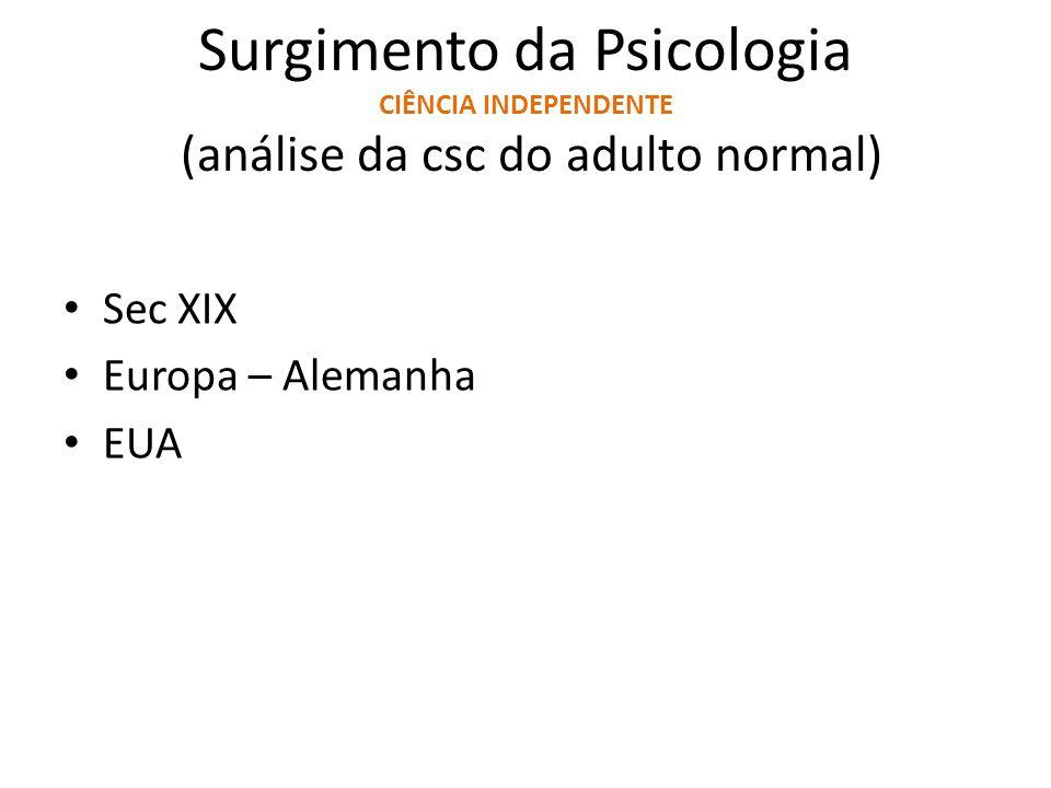Surgimento da Psicologia CIÊNCIA INDEPENDENTE (análise da csc do adulto normal) Sec XIX Europa – Alemanha EUA