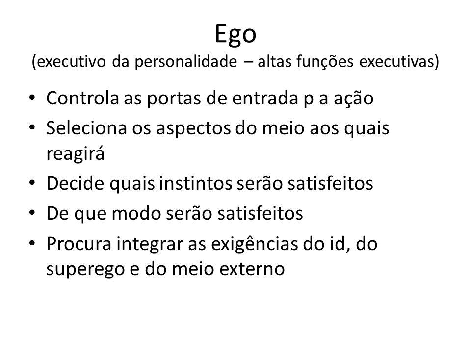Ego (executivo da personalidade – altas funções executivas) Controla as portas de entrada p a ação Seleciona os aspectos do meio aos quais reagirá Dec