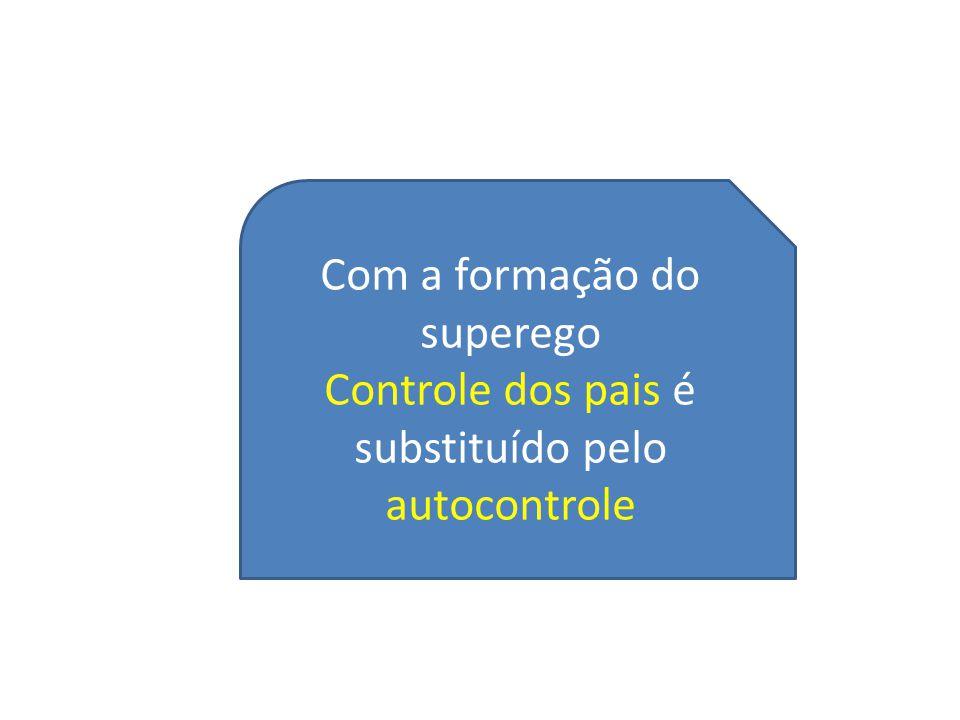 Com a formação do superego Controle dos pais é substituído pelo autocontrole