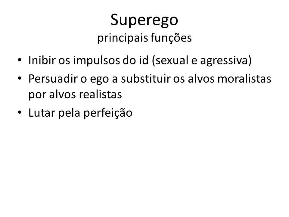 Superego principais funções Inibir os impulsos do id (sexual e agressiva) Persuadir o ego a substituir os alvos moralistas por alvos realistas Lutar p