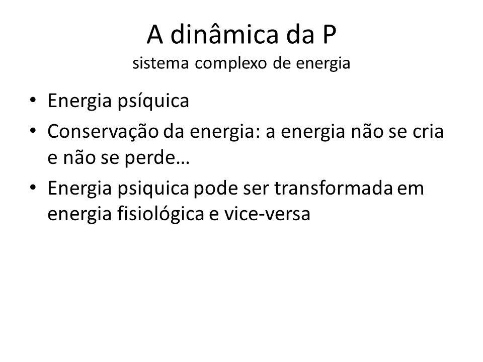 A dinâmica da P sistema complexo de energia Energia psíquica Conservação da energia: a energia não se cria e não se perde… Energia psiquica pode ser t