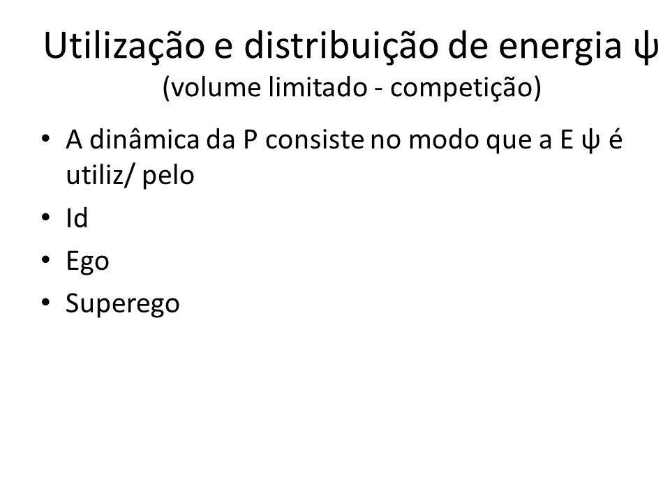 Utilização e distribuição de energia ψ (volume limitado - competição) A dinâmica da P consiste no modo que a E ψ é utiliz/ pelo Id Ego Superego