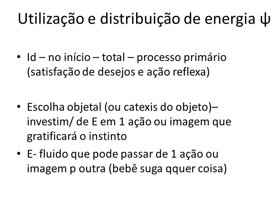 Utilização e distribuição de energia ψ Id – no início – total – processo primário (satisfação de desejos e ação reflexa) Escolha objetal (ou catexis d