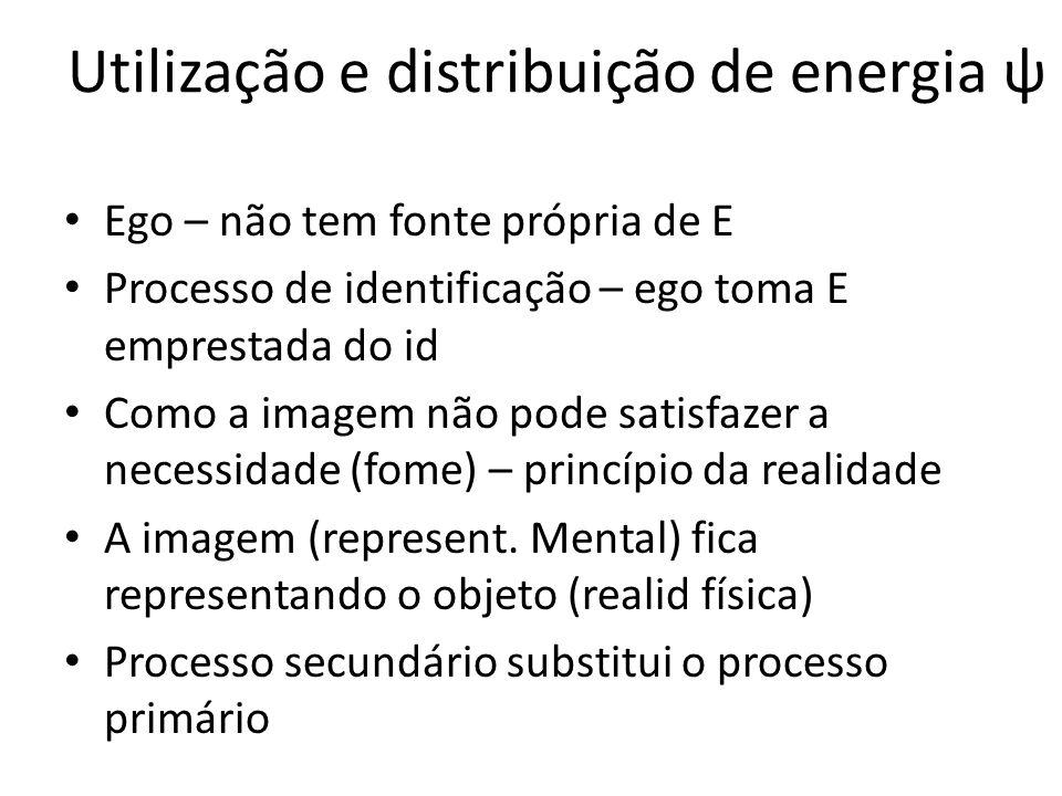 Utilização e distribuição de energia ψ Ego – não tem fonte própria de E Processo de identificação – ego toma E emprestada do id Como a imagem não pode