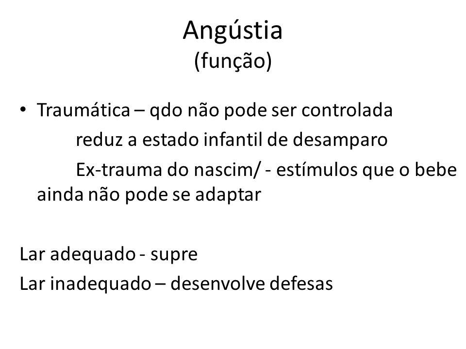Angústia (função) Traumática – qdo não pode ser controlada reduz a estado infantil de desamparo Ex-trauma do nascim/ - estímulos que o bebe ainda não