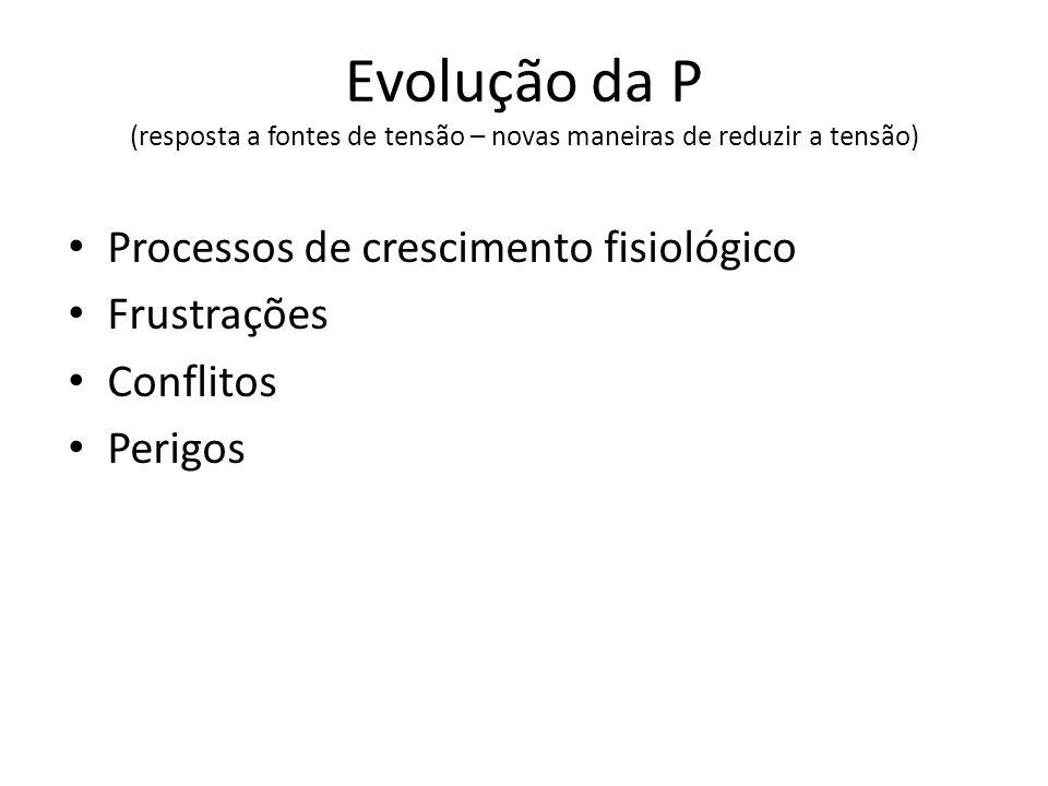 Evolução da P (resposta a fontes de tensão – novas maneiras de reduzir a tensão) Processos de crescimento fisiológico Frustrações Conflitos Perigos