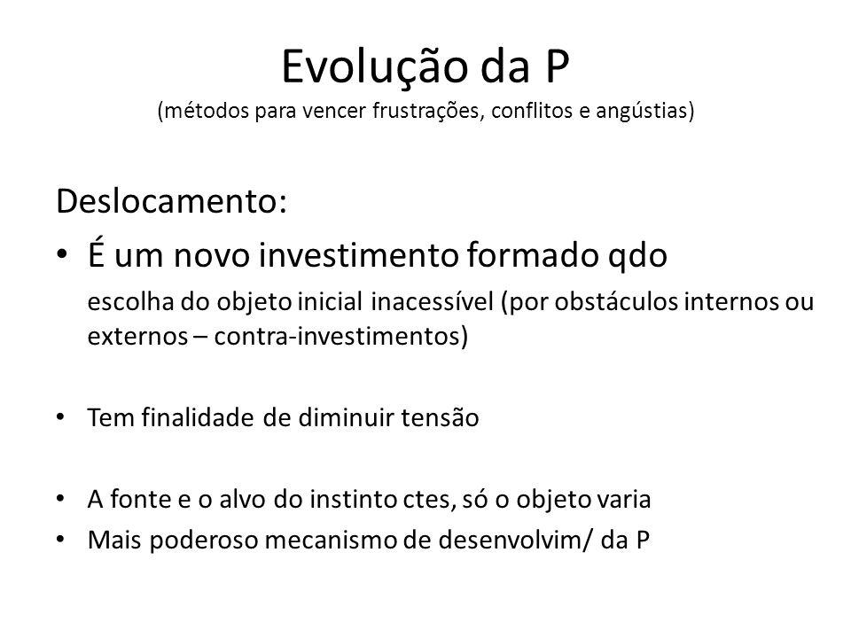 Evolução da P (métodos para vencer frustrações, conflitos e angústias) Deslocamento: É um novo investimento formado qdo escolha do objeto inicial inac