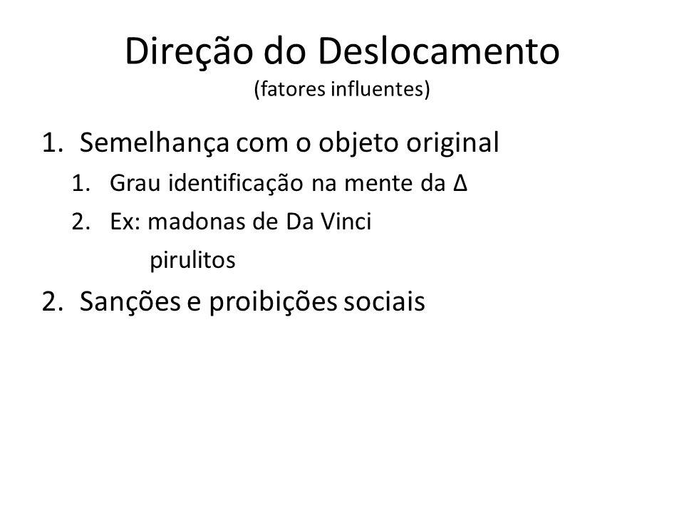 Direção do Deslocamento (fatores influentes) 1.Semelhança com o objeto original 1.Grau identificação na mente da Δ 2.Ex: madonas de Da Vinci pirulitos