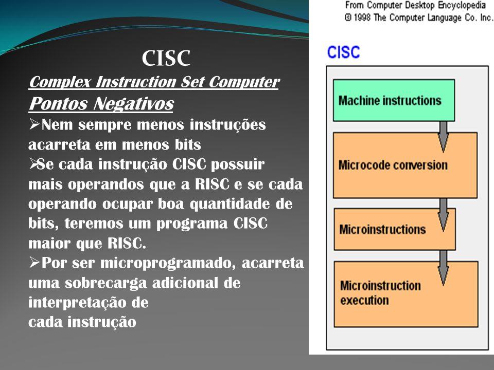 CISC Complex Instruction Set Computer Pontos Negativos Nem sempre menos instruções acarreta em menos bits Se cada instrução CISC possuir mais operando