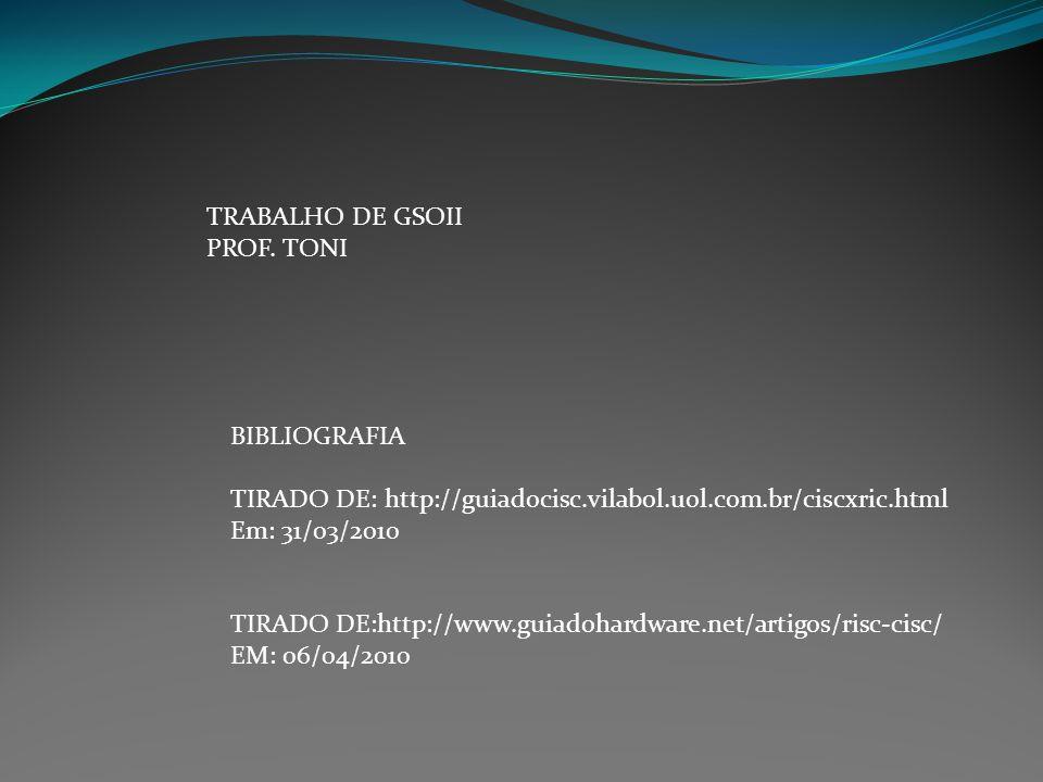 TRABALHO DE GSOII PROF. TONI BIBLIOGRAFIA TIRADO DE: http://guiadocisc.vilabol.uol.com.br/ciscxric.html Em: 31/03/2010 TIRADO DE:http://www.guiadohard