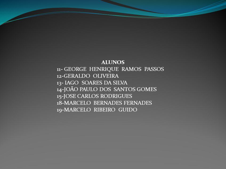 ALUNOS 11- GEORGE HENRIQUE RAMOS PASSOS 12-GERALDO OLIVEIRA 13- IAGO SOARES DA SILVA 14-JOÃO PAULO DOS SANTOS GOMES 15-JOSE CARLOS RODRIGUES 18-MARCEL