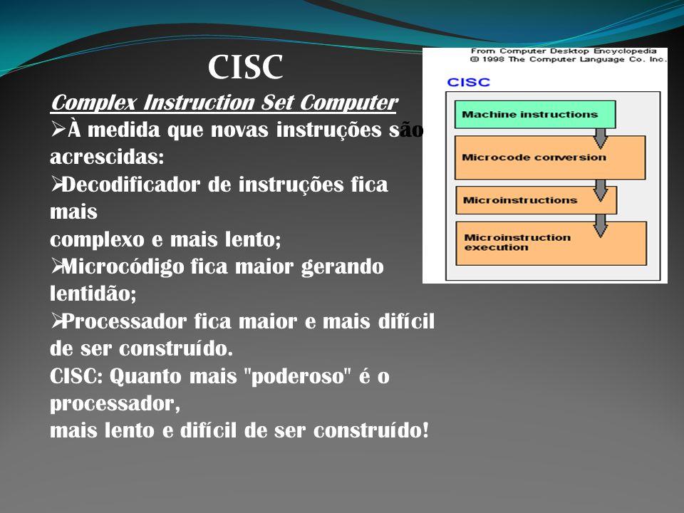 CISC Complex Instruction Set Computer À medida que novas instruções são acrescidas: Decodificador de instruções fica mais complexo e mais lento; Micro