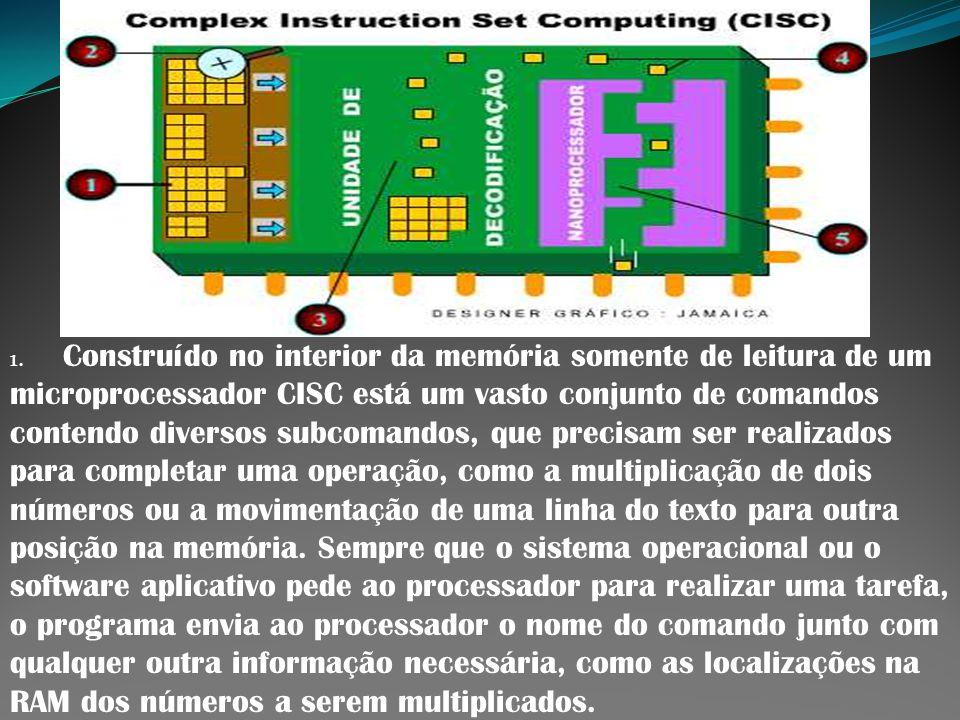1. Construído no interior da memória somente de leitura de um microprocessador CISC está um vasto conjunto de comandos contendo diversos subcomandos,