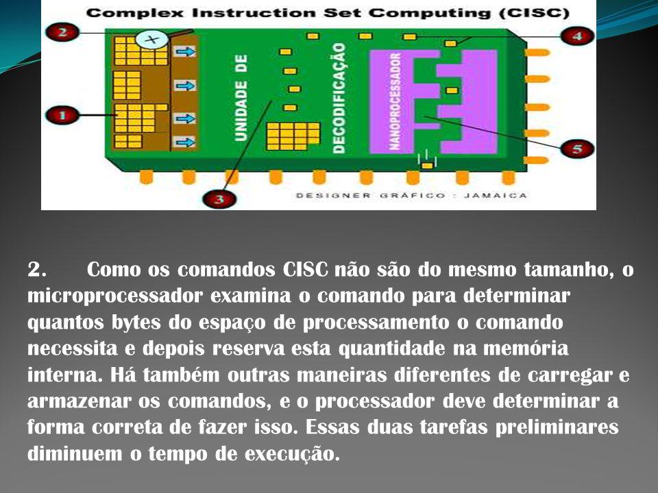 2. Como os comandos CISC não são do mesmo tamanho, o microprocessador examina o comando para determinar quantos bytes do espaço de processamento o com