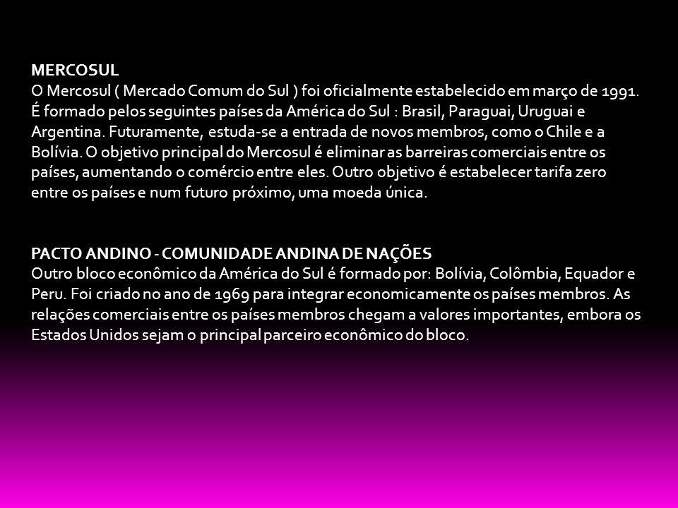 MERCOSUL O Mercosul ( Mercado Comum do Sul ) foi oficialmente estabelecido em março de 1991. É formado pelos seguintes países da América do Sul : Bras