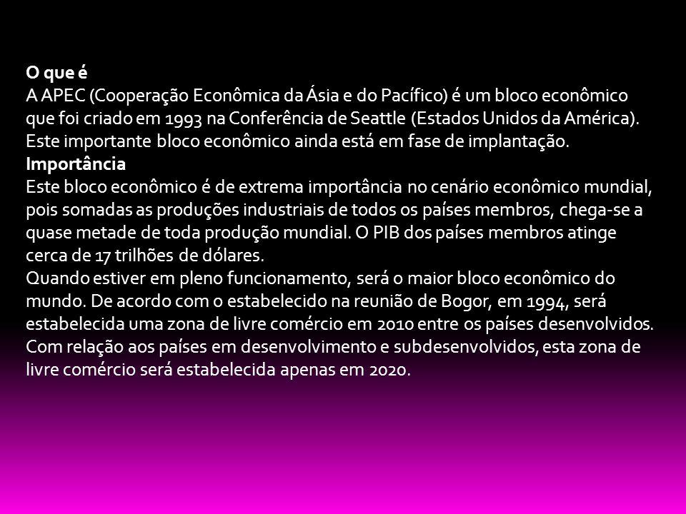 O que é A APEC (Cooperação Econômica da Ásia e do Pacífico) é um bloco econômico que foi criado em 1993 na Conferência de Seattle (Estados Unidos da A